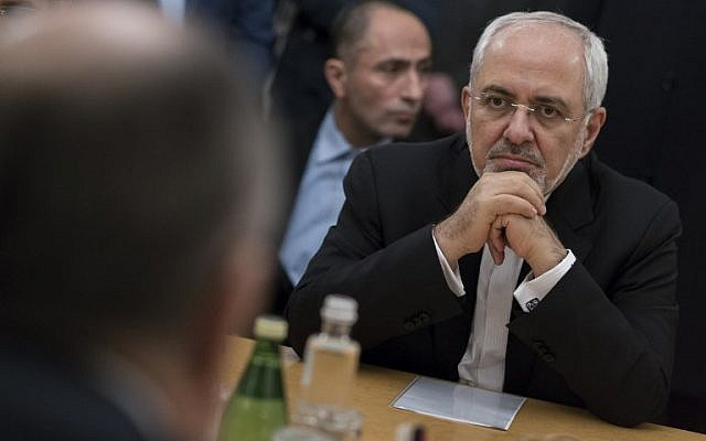 Iran's Foreign Minister Mohammad Javad Zarif attends a meeting with his Russian counterpart in Moscow on January 10, 2018. (AFP Photo/Pool/Alexander Zemlianichenko)