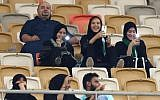 Female Saudi supporters of Al-Ahli attend their team's soccer match against Al-Batin at the King Abdullah Sports City in Jeddah on January 12, 2018. (AFP Photo/Stringer)