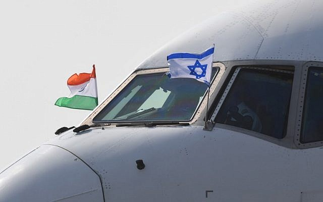 The plane carrying Prime Minister Benjamin Netanyahu and his wife Sara Netanyahu arrives at the Air Force Station in the Indian capital New Delhi on January 14, 2018. (PRAKASH SINGH/AFP)