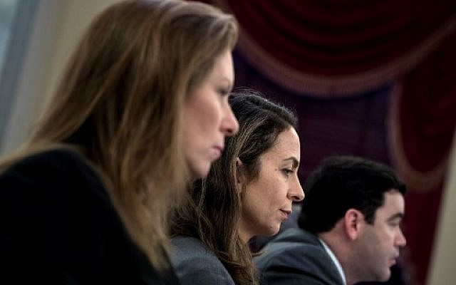 (L-R) Monika Bickert, Facebook's Head of Global Policy Management; Juniper Downs, YouTube 's Global Head of Public Policy and Government Relations; and Carlos Monje, Director, Twitter's North America Public Policy and Philanthropy, at a hearing of the Senate Commerce, Science, and Transportation Committee on Capitol Hill, January 17, 2018 in Washington, DC. (AFP Photo/Brendan Smialowski)