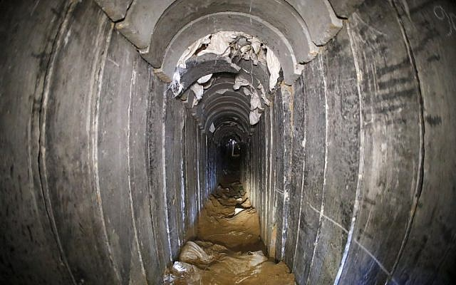 A destroyed Palestinian Islamic Jihad tunnel, leading from Gaza into Israel, near the southern Israeli kibbutz of Kissufim. (Jack Guez/AFP/POOL)