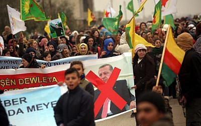 Syrian Kurds march during a protest in support of Afrin on January 18, 2018, in the northern Syrian town of Jawadiyah. (AFP Photo/Delil Souleiman)