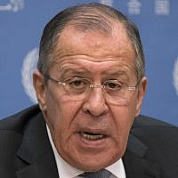 Russian Foreign Minister Sergey Lavrov speaks to reporters at the United Nations on  January 19, 2018. (AFP Photo/Don Emmert)