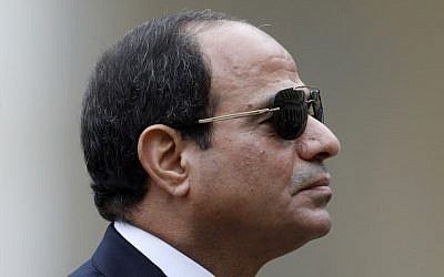 Egyptian President Abdel Fattah el-Sissi attending a military ceremony in Paris in October 2017. (AFP/Pool/Charles Platiau)