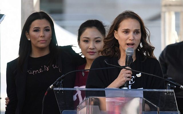 Natalie Portman speaks to the 500,000 strong crowd during the Women's Rally in Los Angeles, California on January 20, 2018. (AFP PHOTO / Mark RALSTON)