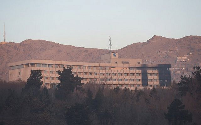 The Intercontinental Hotel following an attack in Kabul on January 21, 2018 (AFP PHOTO / SHAH MARAI)