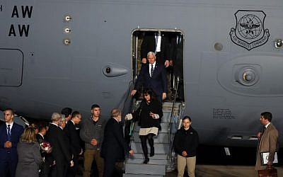 US Vice President Mike Pence and his wife Karen Pence steps off a plane upon arrival at Ben Gurion Airport near the Israeli city of Tel Aviv on January 21, 2018. (AFP/Jack GUEZ)