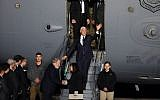 US Vice President Mike Pence waves as he steps off a US Air Force C-17 plane upon arrival at Ben Gurion Airport, January 21, 2018 (AFP PHOTO / Jack GUEZ)