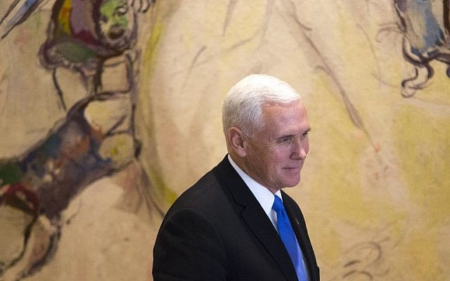 US Vice President Mike Pence is seen after signing the guest book at the Knesset in Jerusalem on January 22, 2018. (AFP Photo/ Pool/ Ariel Schalit)