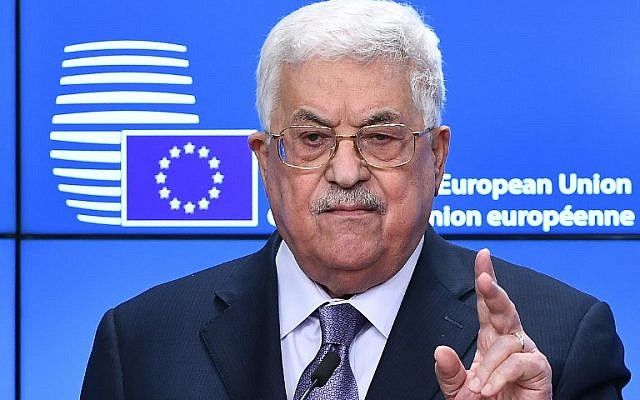 Palestinian Authority President Mahmoud Abbas gestures as he speaks during a press conference prior to attending a EU foreign affairs council at the European Council in Brussels, January 22, 2018.  (EMMANUEL DUNAND / AFP)