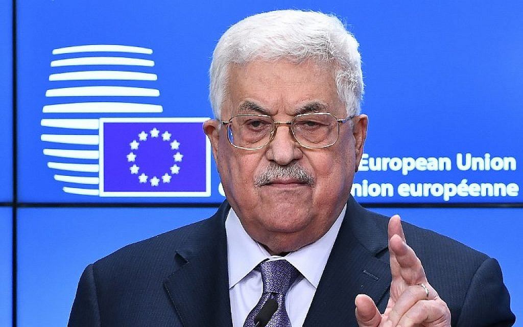 Palestinian Authority President Mahmoud Abbas speaks during a press conference prior to attending a EU foreign affairs council at the European Council in Brussels, January 22, 2018.  (EMMANUEL DUNAND / AFP)