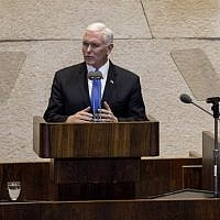 US Vice President Mike Pence addresses the Knesset in Jerusalem on January 22, 2018. (AFP Photo/Pool/Ariel Schalit)