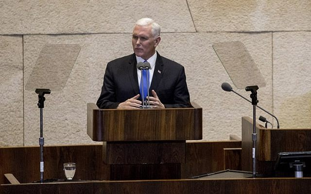 US Vice President Mike Pence gives a speech at the Knesset in Jerusalem on January 22, 2018. (AFP Photo/Pool/Ariel Schalit)