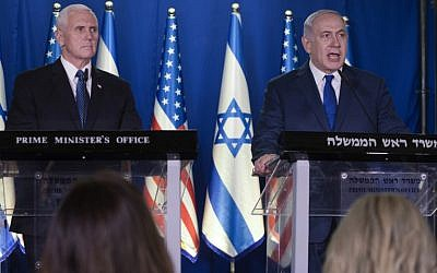 US Vice President Mike Pence (L) listens as Prime Minister Benjamin Netanyahu delivers a statement in the Prime Minister's Residence in Jerusalem, on January 22, 2018 (AFP PHOTO / POOL / Ariel Schalit)