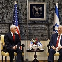President Reuven Rivlin, right, meets with US Vice President Mike Pence at the president's house in Jerusalem, January 23, 2018. (RONEN ZVULUN/AFP)