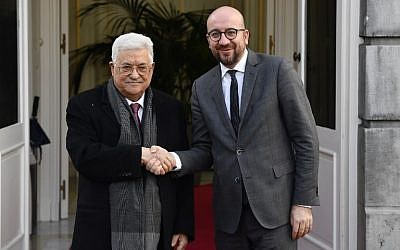 Palestinian Authority President Mahmoud Abbas (L) is welcomed by Belgian Prime Minister Charles Michel upon his arrival for a bilateral meeting in Brussels, on January 23, 2018 (AFP PHOTO / BELGA / ERIC LALMAND)
