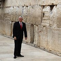 US Vice President Mike Pence visits Jerusalem's Western Wall on January 23, 2018. (AFP PHOTO / Thomas COEX)