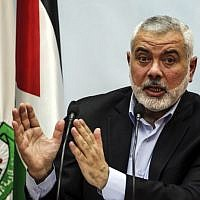 Hamas leader Ismail Haniyeh delivering a speech in Gaza City on January 23, 2018. (AFP Photo/Mahmud Hams)