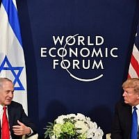 US President Donald Trump and Prime Minister Benjamin Netanyahu during a bilateral meeting on the sidelines of the World Economic Forum (WEF) annual meeting in Davos, eastern Switzerland, on January 25, 2018 (AFP Photo/Nicholas Kamm)