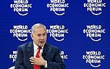 Prime Minister Benjamin Netanyahu at the World Economic Forum (WEF) annual meeting on January 25, 2018, in Davos, Switzerland. (AFP Photo/Fabrice Coffrini)