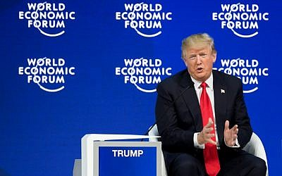 US President Donald Trump speaks during a question and answer session at the World Economic Forum in Davos, Switzerland, on January 26, 2018. (AFP Photo/Fabrice Coffrini)