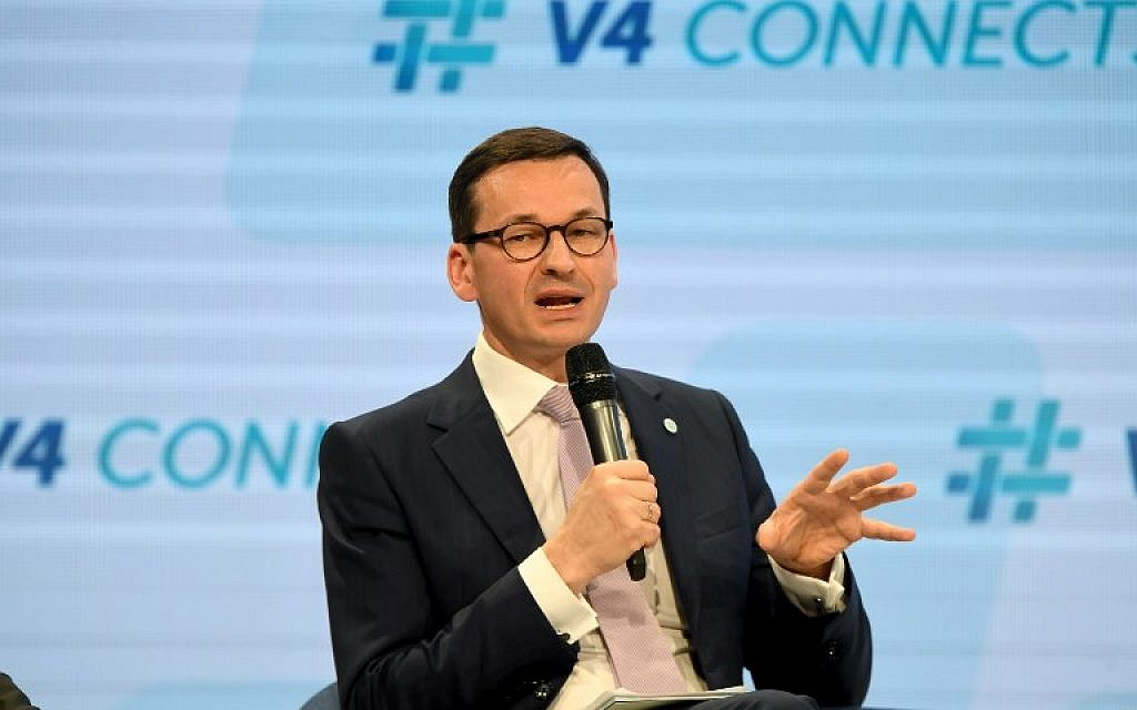 Prime Minister Mateusz Morawiecki of Poland speaks in Budapest on January 26, 2018 (AFP/Attila KISBENEDEK)