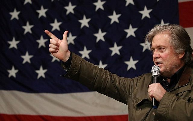 In this file photo taken on December 5, 2017, Steve Bannon speaks at a campaign event for Republican Senatorial candidate Roy Moore at Oak Hollow Farm in Fairhope, Alabama. (AFP Photo/Getty Images North America/Joe Raedle)