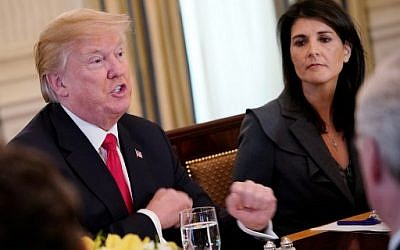 US President Donald Trump (L) next to US Ambassador to the UN Nikki Haley during lunch with members of the United Nations Security Council in the State Dining Room of the White House, January 29, 2018 in Washington, DC. (AFP Photo/Mandel Ngan)