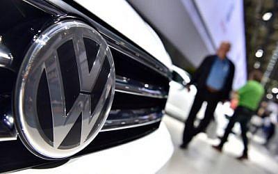 A Volkswagen Tiguan on display during German carmaker Volkswagen shareholders' annual general meeting, June 22, 2016. (John Macdougall/AFP)
