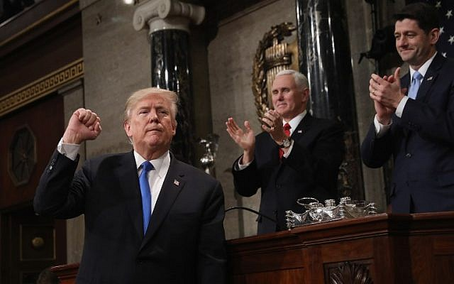 US President Donald J. Trump gestures after the State of the Union address in the chamber of the US House of Representatives in Washington, DC, on January 30, 2018. (AFP / POOL/Win McNamee)