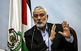 In this file photo taken on January 23, 2018 Hamas leader Ismail Haniyeh delivers a speech in Gaza City (Mahmud Hams/AFP)