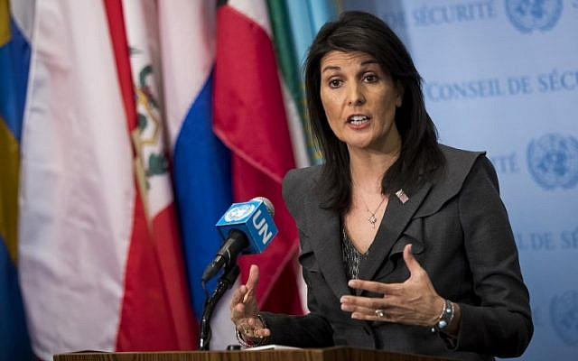 US ambassador to the United Nations Nikki Haley speaks to reporters at United Nations headquarters,New York, January 2, 2018. (Drew Angerer/Getty Images/AFP)