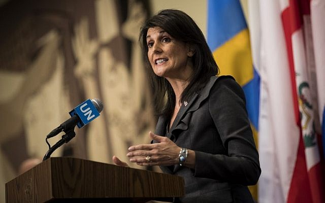 US ambassador to the United Nations Nikki Haley speaks during a brief press availability at UN headquarters in New York City on January 2, 2018. (Drew Angerer/Getty Images/AFP)