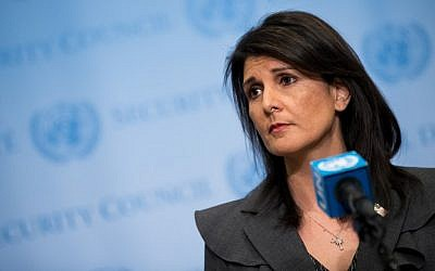 US Ambassador to the United Nations Nikki Haley speaks with the press at United Nations headquarters in New York City on January 2, 2018. (Drew Angerer/Getty Images/AFP)