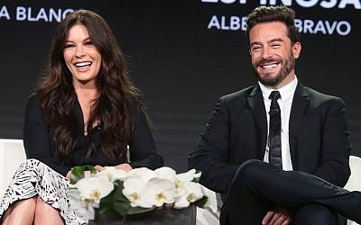 Actors Catherine Zeta-Jones (L) and Juan Pablo Espinosa of 'Cocaine Godmother: The Griselda Blanco Story' speak onstage at the 2018 Winter Television Critics Association Press Tour at The Langham Huntington, Pasadena on January 14, 2018 in Pasadena, California (Frederick M. Brown/Getty Images/AFP)