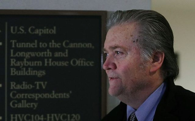 Steve Bannon, former adviser to US President Donald Trump, arrives at a House Intelligence Committee closed door meeting, on January 16, 2018 in Washington, DC. (Mark Wilson/Getty Images/AFP)