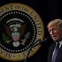 US President Donald Trump speaks as he stops by a Conversations with the Women of America panel at the South Court Auditorium of Eisenhower Executive Office Building January 18, 2018 in Washington, DC. (Alex Wong/Getty Images/AFP)
