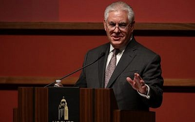 U.S. Secretary of State Rex Tillerson speaks to the Hoover Institution and the Freeman Spogli Institute for International Studies at Stanford University on January 17, 2018 in Stanford, California.    (Justin Sullivan/Getty Images/AFP)