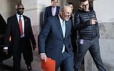 Senate Minority Leader Chuck Schumer (D-NY) returns to the US Capitol after meeting with US President Donald Trump on the looming threat of a federal government shutdown January 19, 2018 in Washington, DC.  (Win McNamee/Getty Images/AFP)