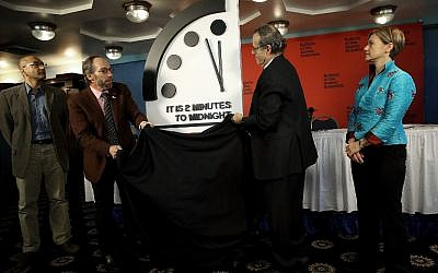 The Bulletin of the Atomic Scientists unveil the 2018 'Doomsday Clock,' January 25, 2018 in Washington, DC. (Win McNamee/Getty Images/AFP)