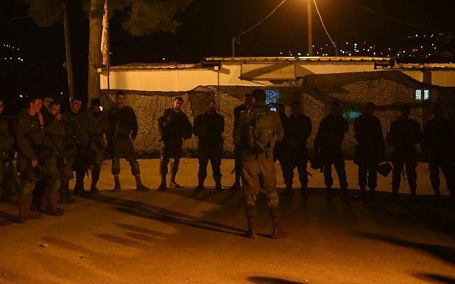 Soldiers prepare for deployment after a lethal terror attack in the northern West Bank on January 10, 2018. (Israel Defense Forces)