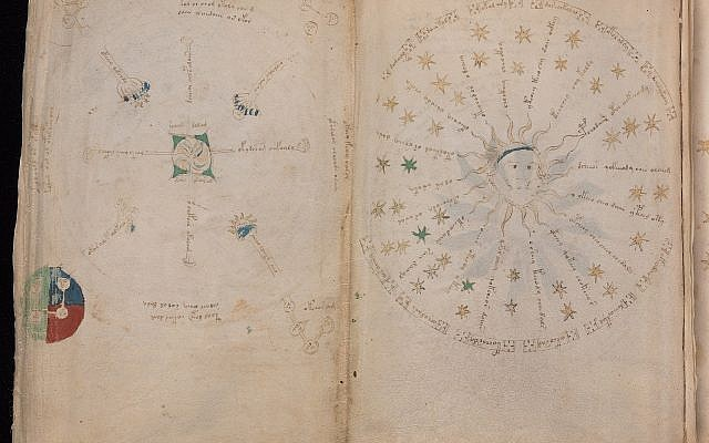A typical two-page astronomical illustration from Beinecke MS 408, aka the Voynich Manuscript. (Yale University's Beinecke Rare Book and Manuscript Library)