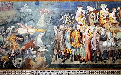 The army of Pharaoh are drowned in the Red Sea in Duomo, by San Gimignano, 1356. (Wikimedia Commons)