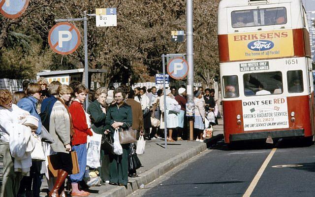 A segregated bus stop in Johannesburg in 1982. (UN/DB)