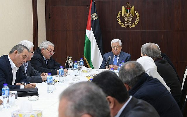Palestinian Authority President Mahmoud Abbas heads the Central Committee meeting on November 25, 2017. (Osama Falah/WAFA)