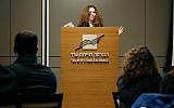 Sharon Shapira, manager of the Digital Health Sector Strategic Projects at Start-Up Nation Central, speaks to attendees at the Digital Health Toolkit & US adoption of Digital Health Solutions launch event, January 3, 2018. (Courtesy/Start-Up Nation Central)
