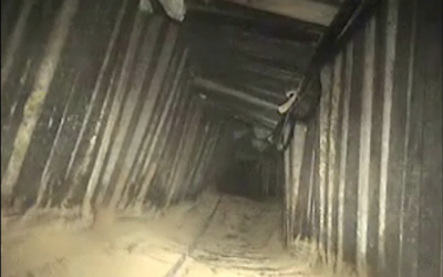 An attack tunnel that was bombed by Israeli jets on January 13, 2018. (Israel Defense Forces)