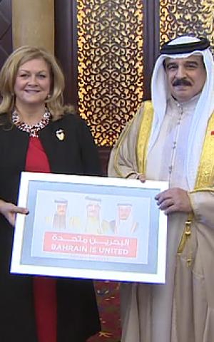 Hamad Bin Isa Al Khalifa The King Of The Kingdom Of Bahrain R With Betsy Mathieson President Of The Bahrain Based Non Governmental Organization This Is
