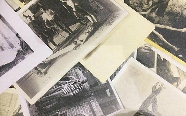Photographs of Nazi atrocities taken by US Army photographers in Dachau after its liberation. The images were staged with the help of former inmates. These were seen in the 'Flashes of Memory' exhibition at Yad Vashem, January 24, 2018. (Renee Ghert-Zand/TOI)