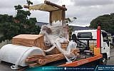 Sultan Ibrahim Sultan Iskandar of Johor received a replica of the iconic foot-powered car shown in 'The Flintstones' cartoon from the Pahang royal house. (Sultan Ibrahim Sultan Iskandar)